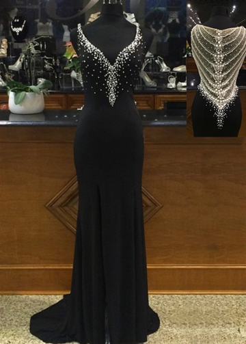 Sexy Chiffon V-neck Neckline Sheath Evening Dresses with Beadings & Rhinestones
