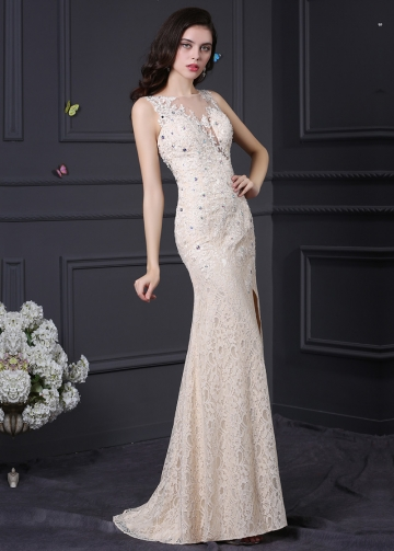 Elegant Lace Jewel Neckline Mermaid Formal / Prom Dresses