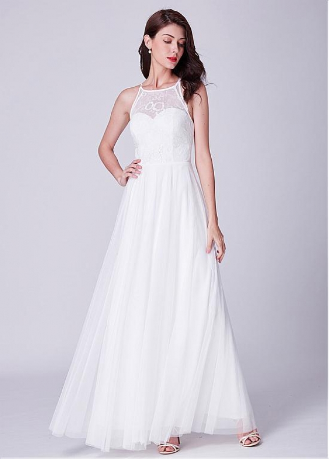 Dazzling Lace & Tulle Jewel Neckline Floor-length A-line Prom / Bridesmaid Dress