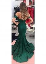 Modest Acetate Satin Off-the-shoulder Neckline Mermaid Evening Dresses