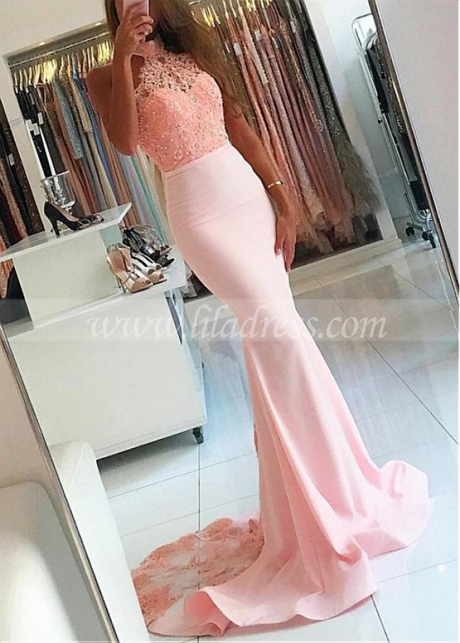 Popular Satin High Collar Neckline Mermaid Prom Dresses With Beaded Lace Appliques & Belt