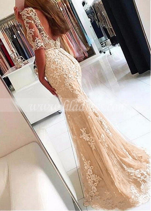 Fashionable Tulle Scoop Neckline Half Sleeves Mermaid Evening Dress With Beaded Lace Appliques & Belt