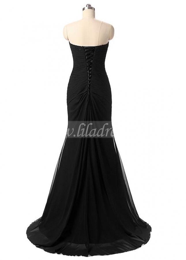 Graceful Chiffon Sweetheart Neckline Mermaid Formal Dresses With Beadings