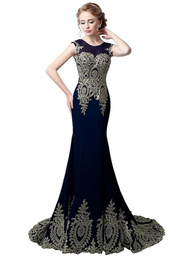 Glamorous Jewel Neckline Mermaid Evening Dresses With Lace Appliques