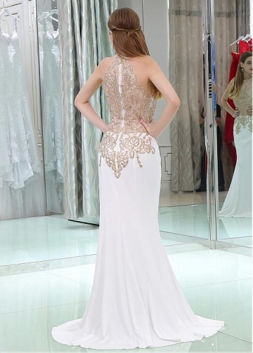 Charming White Halter Neckline Floor-length Mermaid Evening / Prom Dresses