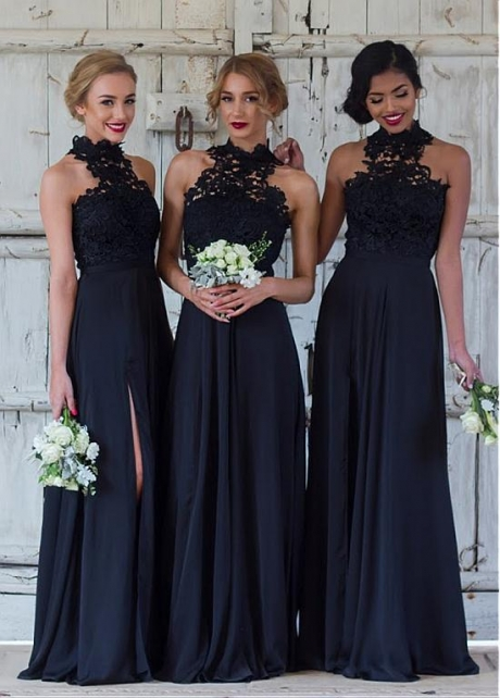Modest Dark Navy Chiffon High Collar A-line Bridesmaid Dress With Slit