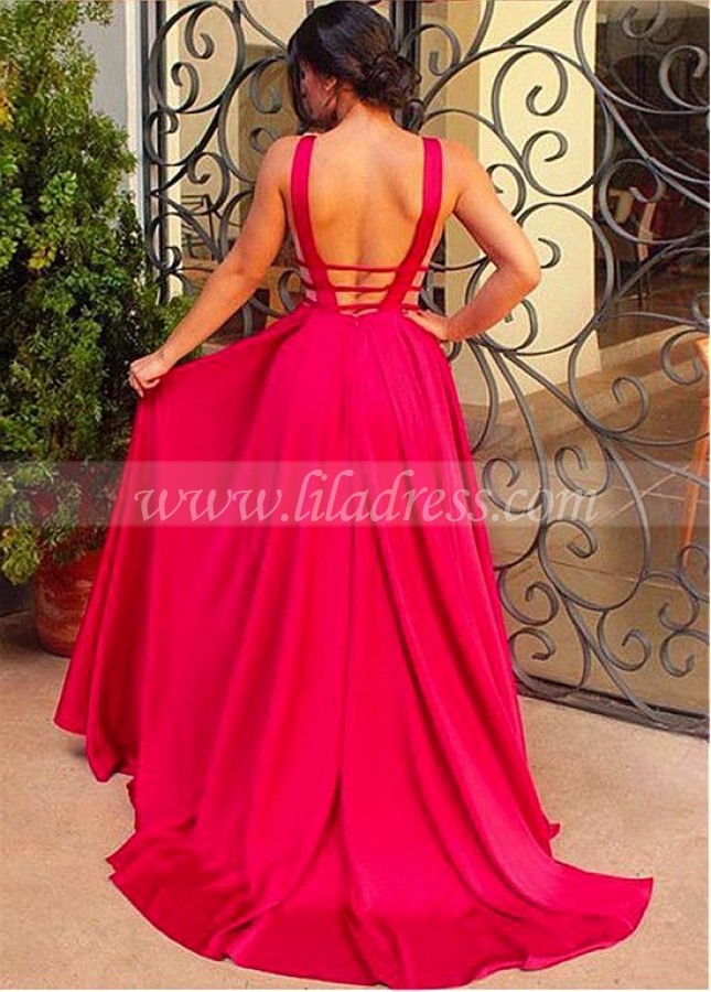 Sexy V-neck Neckline A-line Prom Dresses With Pleats
