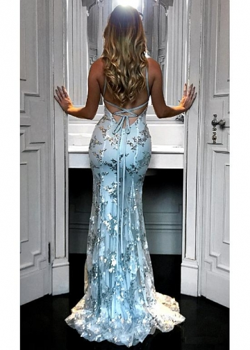 Brilliant Sequin Lace V-neck Neckline Mermaid Evening Dresses