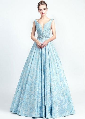 Elegant Satin V-neck Neckline A-line Prom Dresses