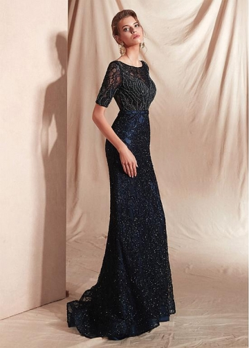 Beautiful Lace Bateau Neckline Mermaid Prom Dresses With Beadings