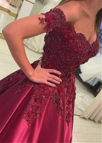Fashionable Burgundy Satin Off-the-shoulder Neckline Floor-length A-line Evening Dresses With Beaded Lace Appliques & Handmade Flowers