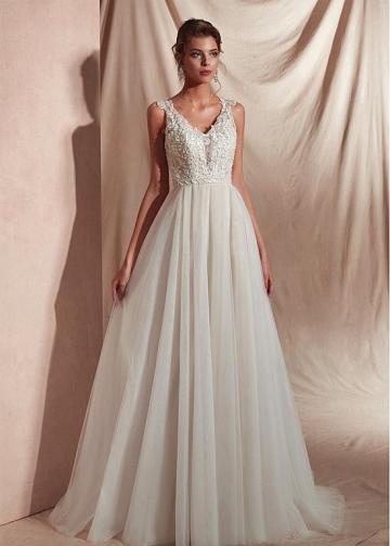 Marvelous Lace & Tulle V-neck Neckline A-line Prom Dresses