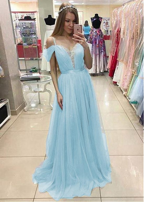 Unique Tulle & Lace Spaghetti Straps Neckline Floor-length A-line Prom Dresses With Belt & Beadings