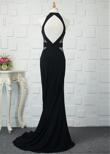 Romantic Tulle & Spandex Halter Neckline Sheath/Column Prom Dresses