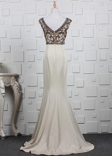 Romantic Tulle & Satin Bateau Neckline Mermaid Prom Dresses With Beadings