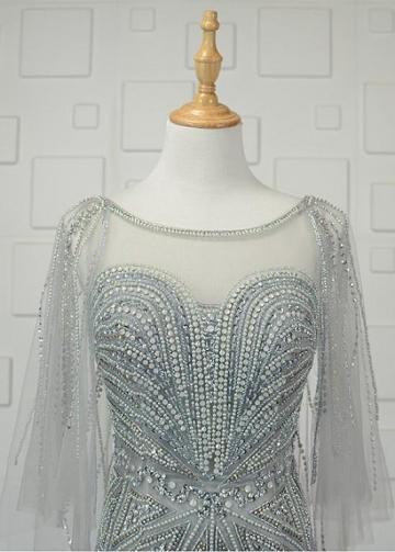 Graceful Tulle Bateau Neckline Sheath/Column Prom Dresses With Beadings