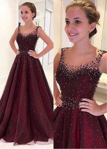 Junoesque Tulle Illusion Neckline Floor-length A-line Evening Dresses With Beadings