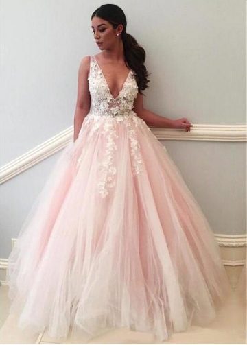 Modest Tulle V-neck Neckline Floor-length A-line Prom Dresses With Lace Appliques & Handmade Flowers