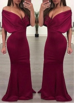 Sexy Satin Off-the-shoulder Neckline Floor-length Mermaid Evening Dresses