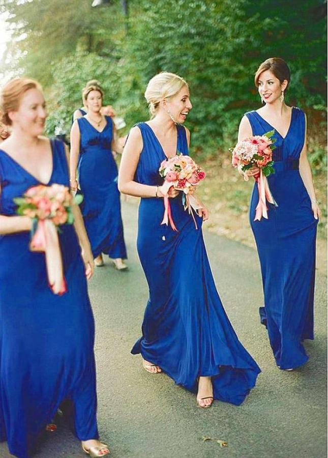 Beautiful Jersey V-neck Neckline Floor Length Sheath/Column Bridesmaid Dresses