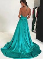 Classic Stretch Charmeuse Satin Halter Neckline Floor-length A-line Evening Dresses With Slit
