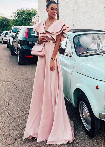 Beautiful Pink V-neck Neckline Floor-length A-line Evening Dress With Belt