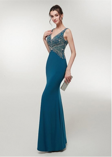 Chic V-neck Neckline Floor-length Mermaid Evening Dress With Beadings