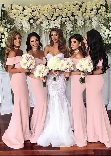 Exquisite Satin Off-the-shoulder Neckline Mermaid Bridesmaid Dresses