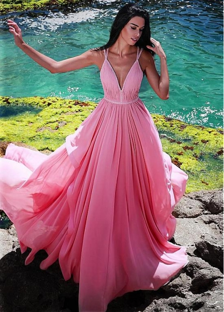 Exciting Chiffon Spaghetti Straps Neckline Floor-length A-line Prom Dress With Beadings