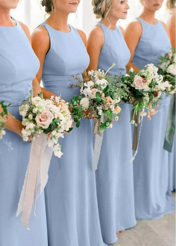 Delicate Chiffon Jewel Neckline Floor-length Sheath/Column Bridesmaid Dresses