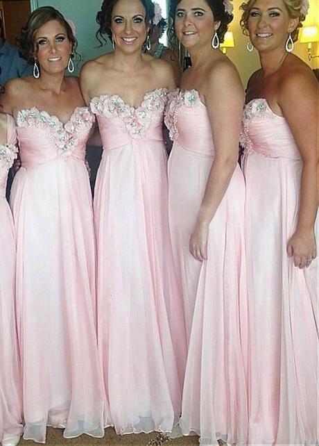 Alluring Chiffon Sweetheart Neckline A-line Bridesmaid Dresses With Beaded Handmade Flowers