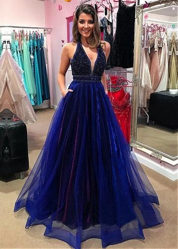 Splendid Organza & Tulle V-neck Neckline A-Line Evening Dress With Beadings & Pockets