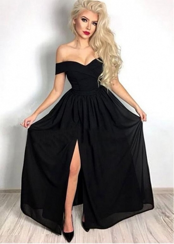 Elegant Chiffon Off-the-shoulder Neckline A-line Evening Dress With Slit