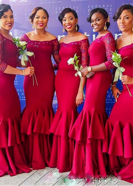 Delicate Tulle & Satin Off-the-shoulder Neckline Floor-length Mermaid Bridesmaid Dresses With Lace Appliques & Beadings