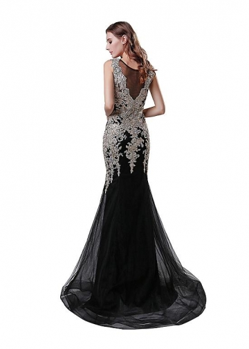 Fantastic Tulle Jewel Neckline Mermaid Evening Dress With Lace Appliques & Rhinestones