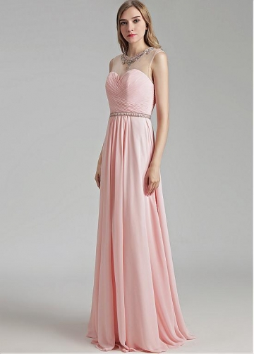 Romantic Chiffon Jewel Necklline A-line Prom Dress With Beadings