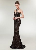 Excellent Sequin Lace Jewel Neckline Sheath/Column Evening Dress