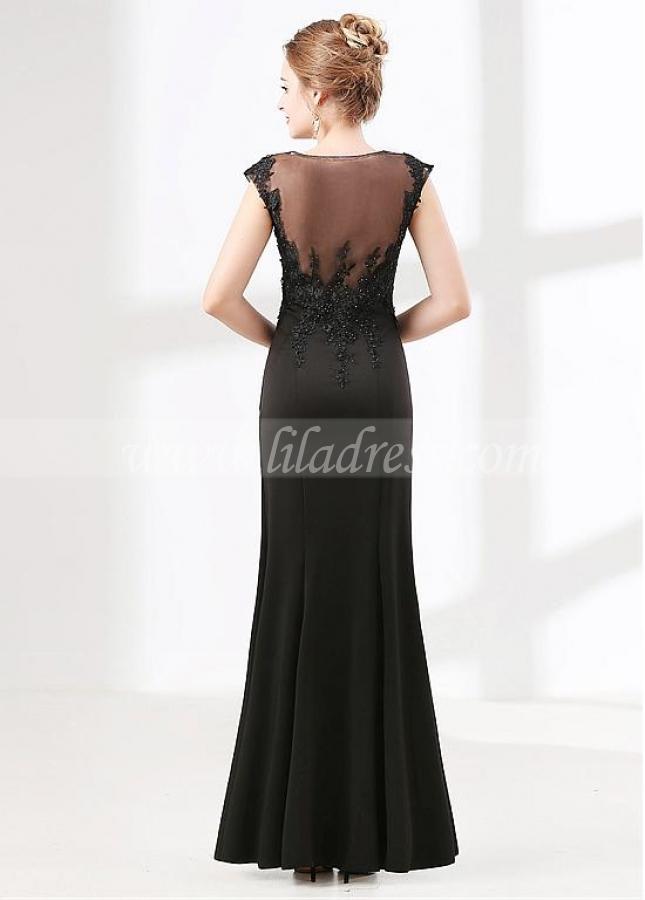 Modest Black Scoop Neckline Cap Sleeves Sheath / Column Evening Dress With Lace Appliques