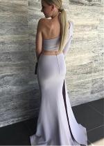 Amazing Acetate Satin One-shoulder Neckline Two-piece Mermaid Evening Dresses