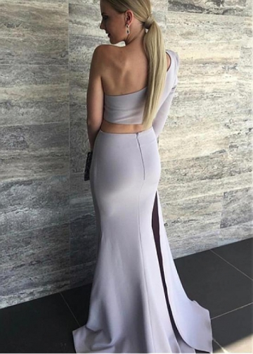 Amazing Acetate Satin One-shoulder Neckline Two-piece Mermaid Evening Dresses