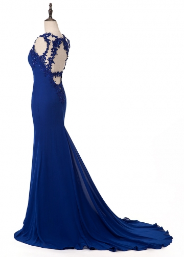 Modest Tulle & Chiffon Jewel Neckline Mermaid Evening Dress With Beaded Lace Appliques
