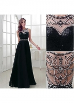 Attractive Chiffon Bateau Neckline A-Line Prom Dresses With Beadings