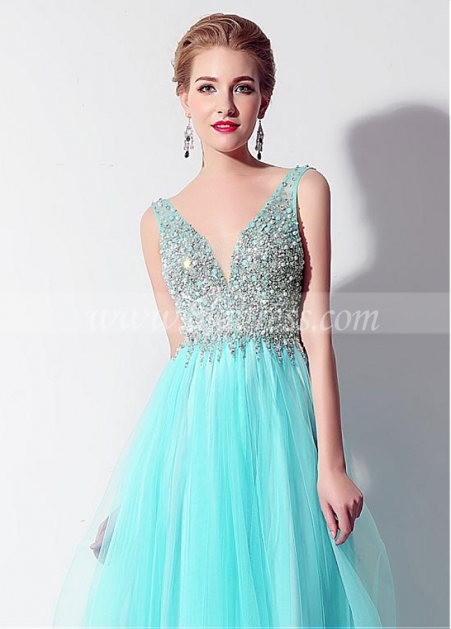 Fantastic Tulle V-neck Neckline Exposed Back A-Line Prom Dresses With Beadings