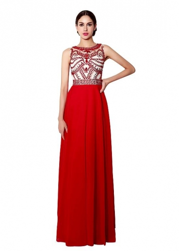 Alluring Chiffon Jewel Neckline A-line Prom Dresses With Beadings
