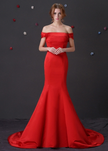 Chic Satin Off-The-Shoulder Neckline Mermaid Formal Dresses
