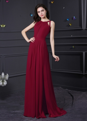 Gorgeous Chiffon Halter Neckline A-Line Formal / Bridesmaid Dresses