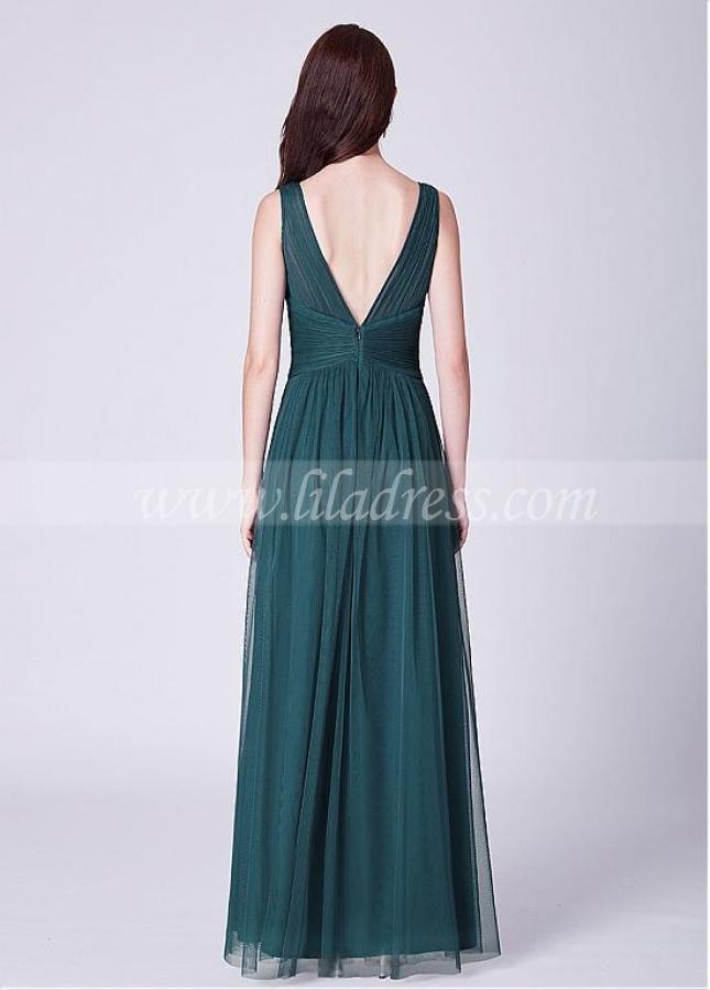 Exquisite Tulle & Sequin Lace V-neck Neckline A-line Bridesmaid Dresses