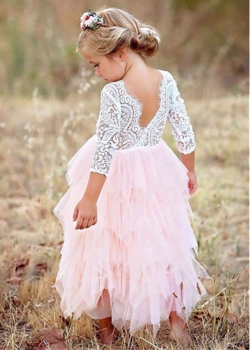 Sweet Tulle & Lace Scoop Neckline A-line Flower Girl Dresses