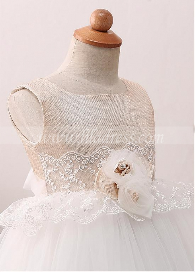 Exquisite Tulle Scoop Neckline Ball Gown Flower Girl Dress With Lace Appliques & Handmade Flowers & Belt