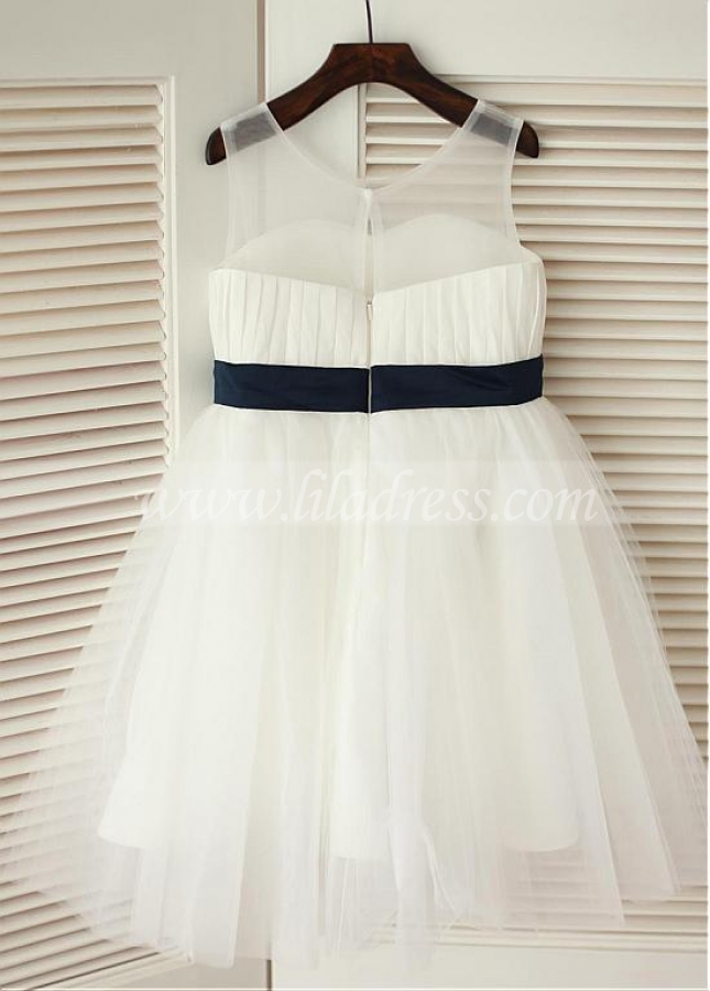 Gorgeous Tulle Scoop Neckline Knee-length A-line Flower Girl Dresses With Bowknot